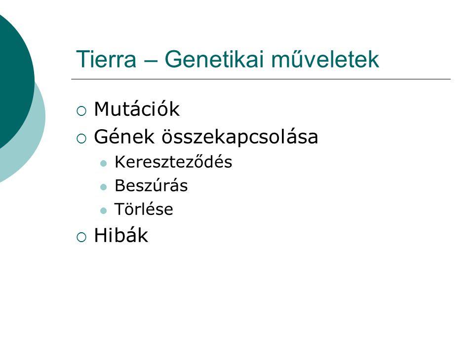 Tierra - Zavarok  A Tierra megölheti a folyamat populációk meghatározott részét bizonyos időpontokban  Mind az időpontokat  Mind a meghatározott részt a felhasználó paramétereken keresztül szabályozhatja  Apokalipszis (Network Tierra)