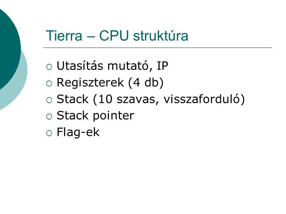 Tierra – Utasítás készlet  Úgy tervezték a Tierra-t, hogy különböző utasításkészletekkel legyen képes működni  Az utasítások az Assembly nyelvre emlékeztetnek  Ez inkább csak szintaktikai hasonlóság