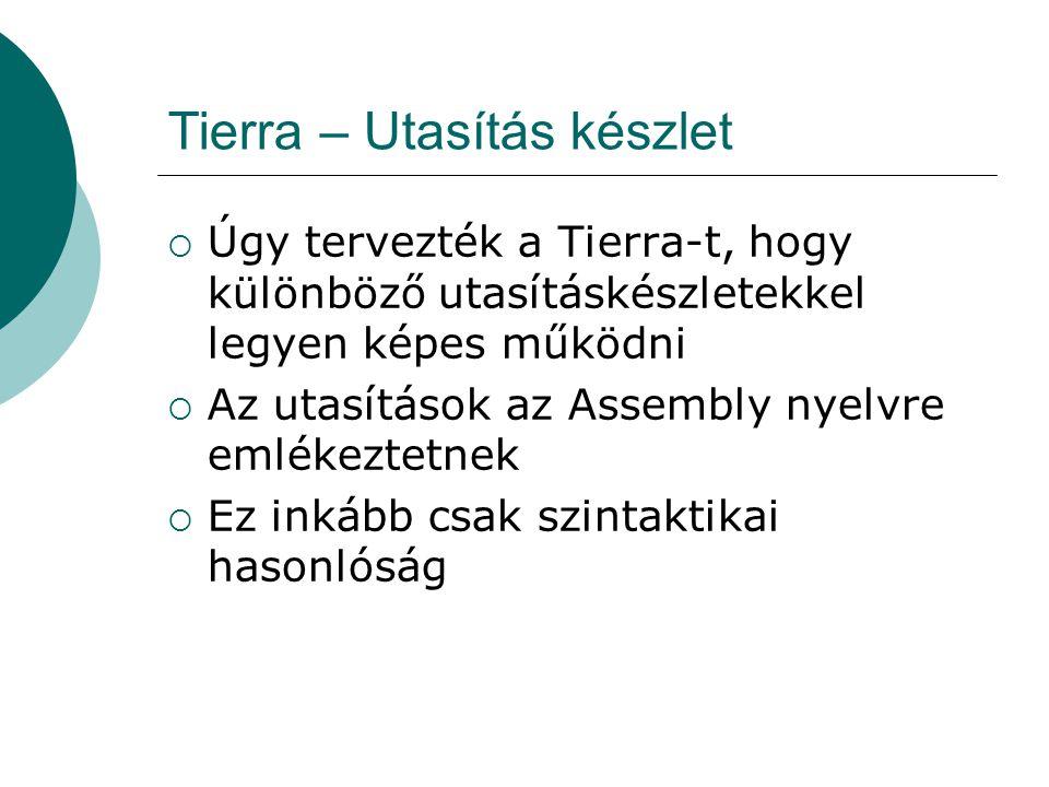 """Tierra – Utasítás készlet  Alapvető jellemzők: Utasítás nem """"szállíthatja el a virtuális gépet Kisméretű utasításkészlet, nincsenek numerikus operandusok Template címzés Szinte nincs szintaxis Egyébként hasonló más Assembly-hez"""