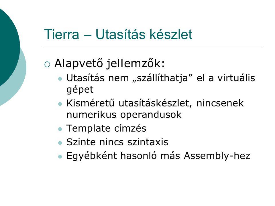 Tierra – Template addressing  Nincs numerikus művelet – hogy működik a jmp .