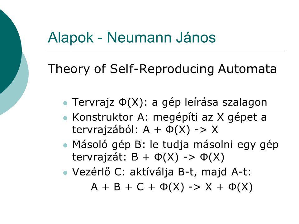 Alapok - Neumann János Legyen X = A + B + C a gép melyet le kell gyártani A + B + C + Φ(A + B + C) -> A + B + C + Φ(A + B + C) Az X gép és Φ(X) szalag önreprodukáló rendszert ad.