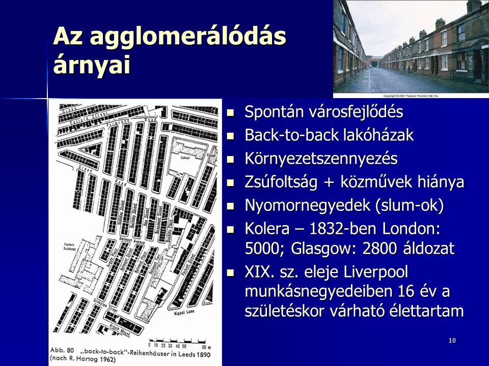10 Az agglomerálódás árnyai Spontán városfejlődés Spontán városfejlődés Back-to-back lakóházak Back-to-back lakóházak Környezetszennyezés Környezetsze