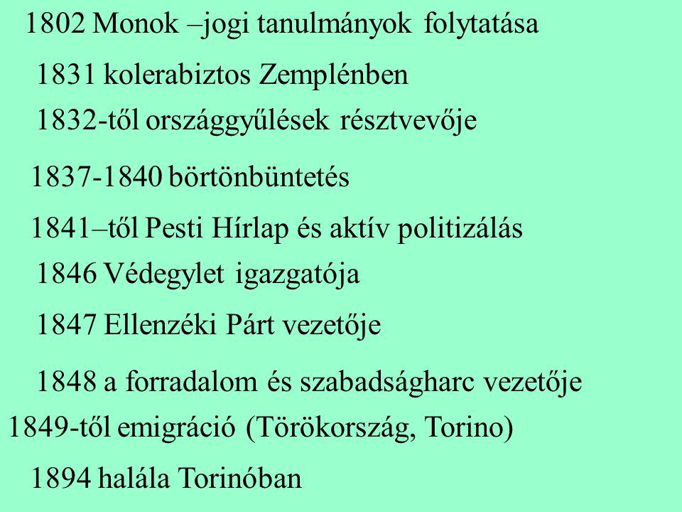 1802 Monok –jogi tanulmányok folytatása 1831 kolerabiztos Zemplénben 1832-től országgyűlések résztvevője 1837-1840 börtönbüntetés 1841–től Pesti Hírla