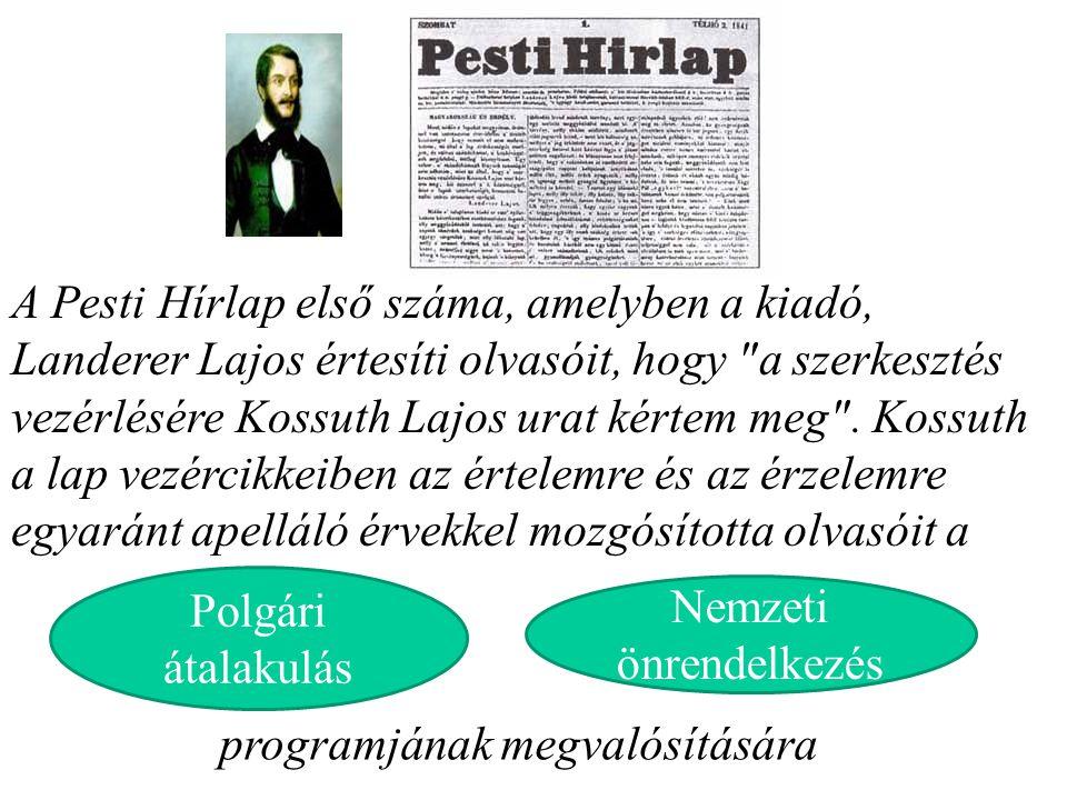 A Pesti Hírlap első száma, amelyben a kiadó, Landerer Lajos értesíti olvasóit, hogy