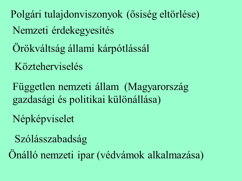 Polgári tulajdonviszonyok (ősiség eltörlése) Nemzeti érdekegyesítés Örökváltság állami kárpótlássál Közteherviselés Független nemzeti állam (Magyarors