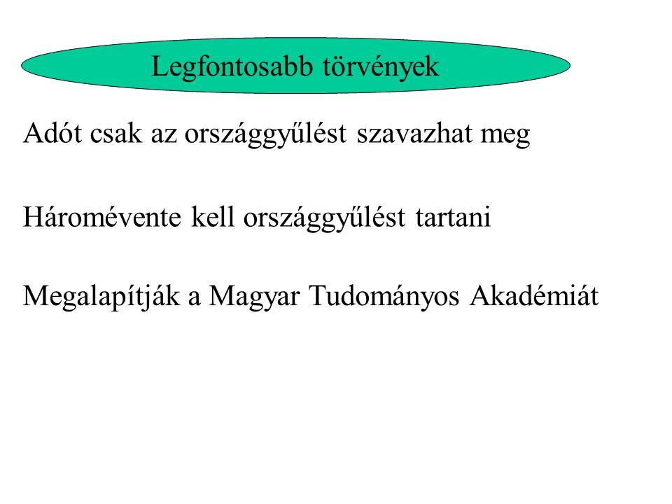 Legfontosabb törvények Adót csak az országgyűlést szavazhat meg Háromévente kell országgyűlést tartani Megalapítják a Magyar Tudományos Akadémiát