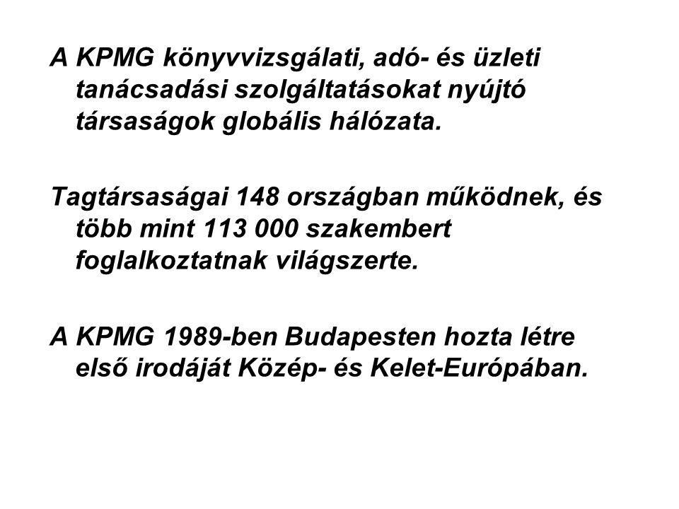 A KPMG könyvvizsgálati, adó- és üzleti tanácsadási szolgáltatásokat nyújtó társaságok globális hálózata.