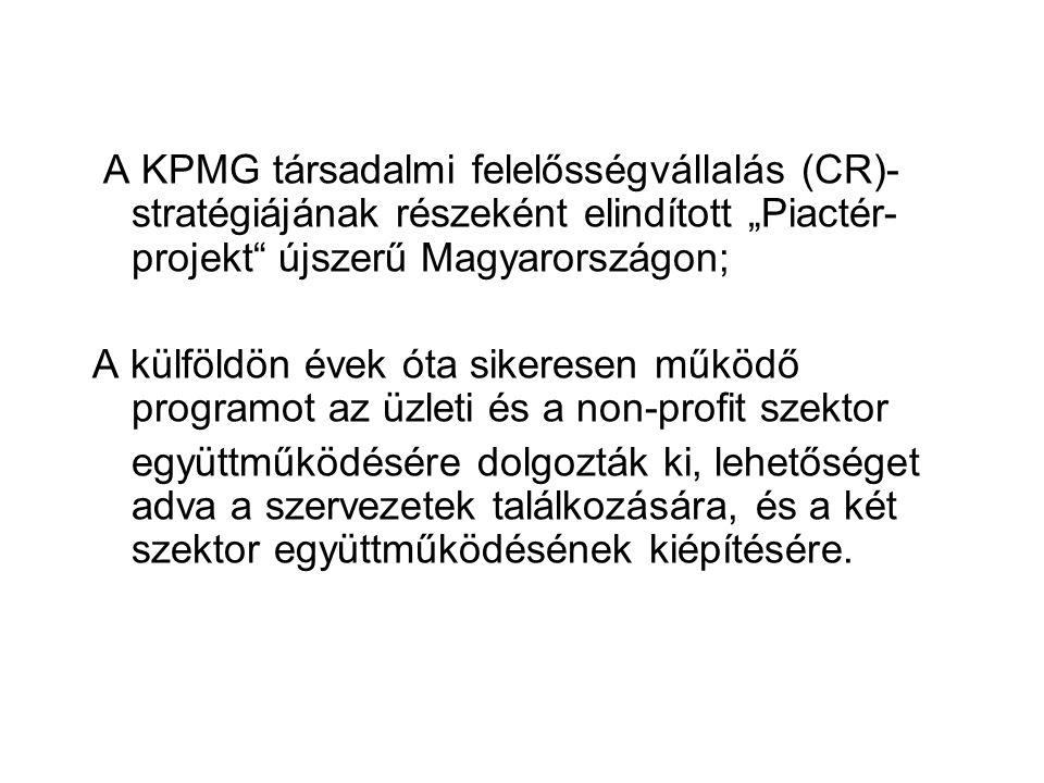"""A KPMG társadalmi felelősségvállalás (CR)- stratégiájának részeként elindított """"Piactér- projekt újszerű Magyarországon; A külföldön évek óta sikeresen működő programot az üzleti és a non-profit szektor együttműködésére dolgozták ki, lehetőséget adva a szervezetek találkozására, és a két szektor együttműködésének kiépítésére."""