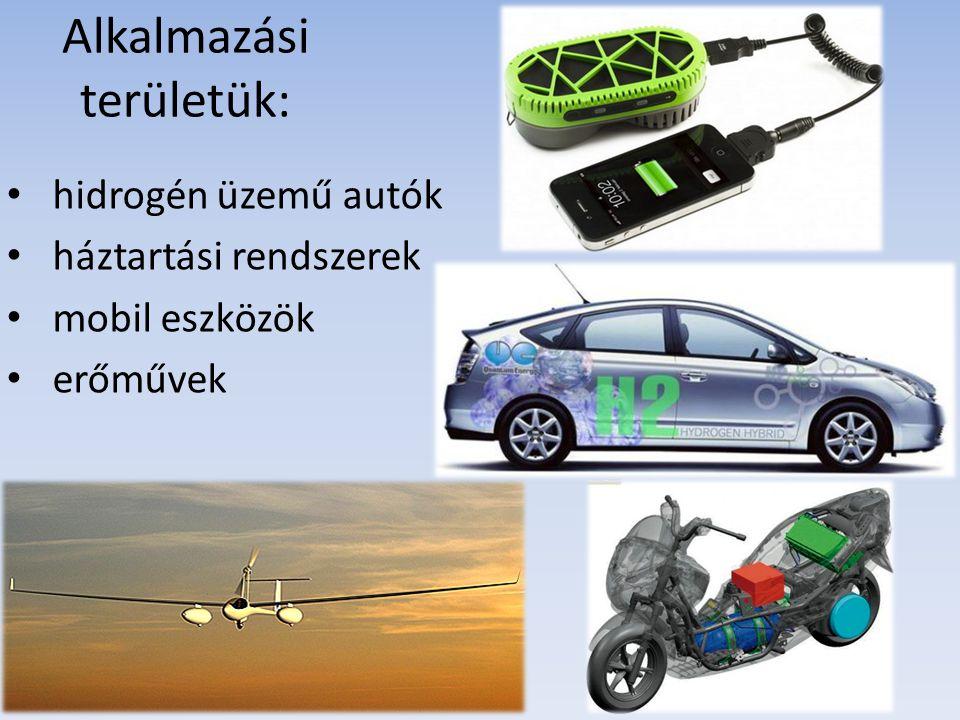 Alkalmazási területük: hidrogén üzemű autók háztartási rendszerek mobil eszközök erőművek