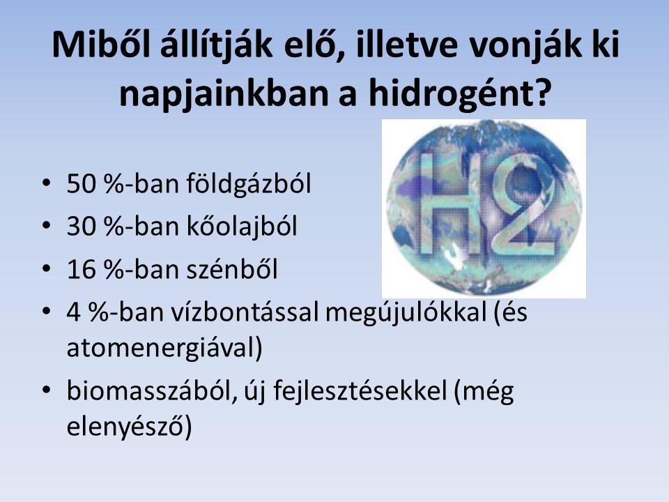 Miből állítják elő, illetve vonják ki napjainkban a hidrogént? 50 %-ban földgázból 30 %-ban kőolajból 16 %-ban szénből 4 %-ban vízbontással megújulókk