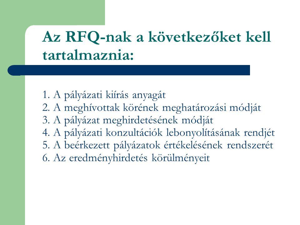 Az RFQ-nak a következőket kell tartalmaznia: 1. A pályázati kiírás anyagát 2. A meghívottak körének meghatározási módját 3. A pályázat meghirdetésének