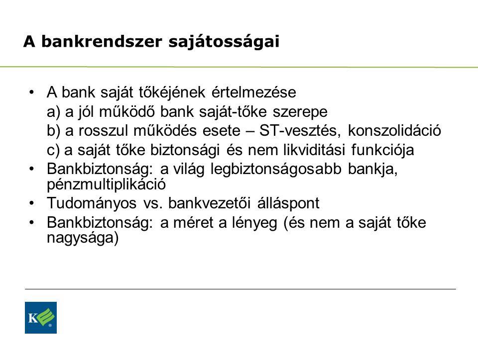 A bankrendszer sajátosságai A bank saját tőkéjének értelmezése a) a jól működő bank saját-tőke szerepe b) a rosszul működés esete – ST-vesztés, konszo