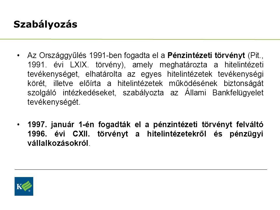 Szabályozás Az Országgyűlés 1991-ben fogadta el a Pénzintézeti törvényt (Pit., 1991. évi LXIX. törvény), amely meghatározta a hitelintézeti tevékenysé