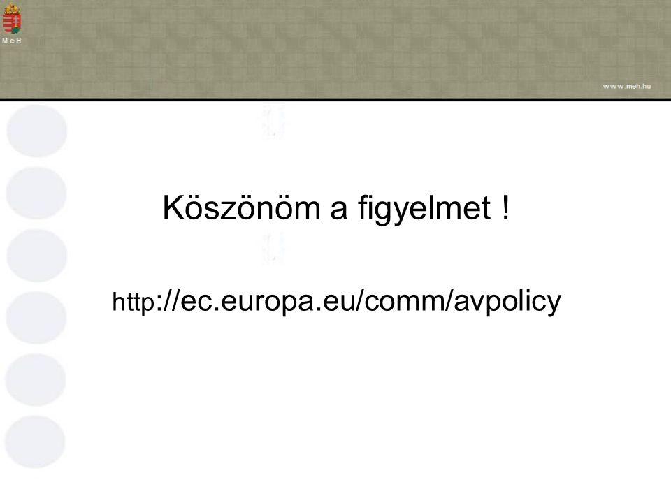 Köszönöm a figyelmet ! http ://ec.europa.eu/comm/avpolicy