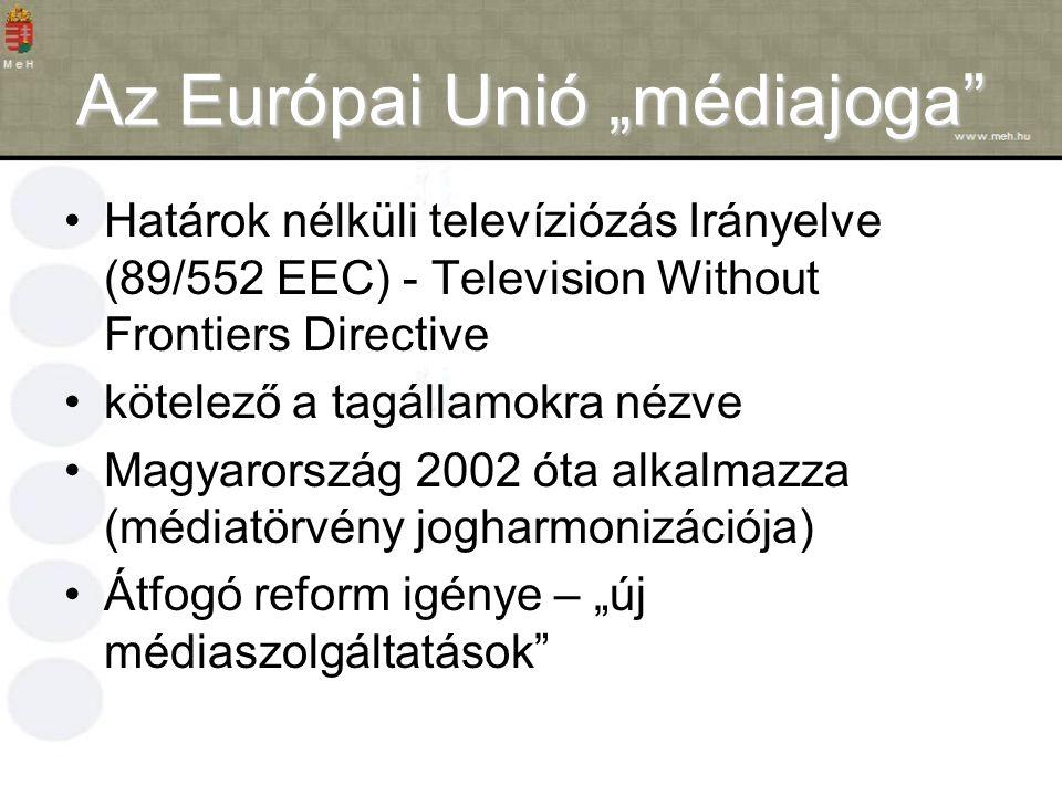 """Az Európai Unió """"médiajoga Határok nélküli televíziózás Irányelve (89/552 EEC) - Television Without Frontiers Directive kötelező a tagállamokra nézve Magyarország 2002 óta alkalmazza (médiatörvény jogharmonizációja) Átfogó reform igénye – """"új médiaszolgáltatások"""