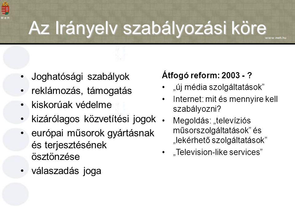 Az Irányelv szabályozási köre Joghatósági szabályok reklámozás, támogatás kiskorúak védelme kizárólagos közvetítési jogok európai műsorok gyártásnak és terjesztésének ösztönzése válaszadás joga Átfogó reform: 2003 - .