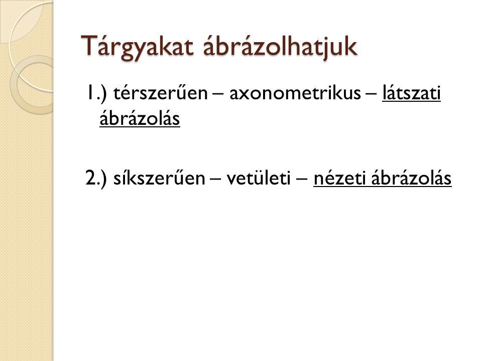 Tárgyakat ábrázolhatjuk 1.) térszerűen – axonometrikus – látszati ábrázolás 2.) síkszerűen – vetületi – nézeti ábrázolás