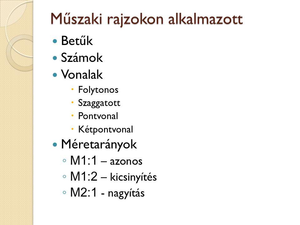 Műszaki rajzokon alkalmazott Betűk Számok Vonalak  Folytonos  Szaggatott  Pontvonal  Kétpontvonal Méretarányok ◦ M1:1 – azonos ◦ M1:2 – kicsinyíté