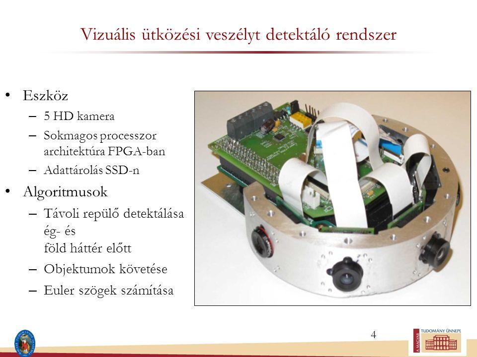 Vizuális ütközési veszélyt detektáló rendszer Eszköz – 5 HD kamera – Sokmagos processzor architektúra FPGA-ban – Adattárolás SSD-n Algoritmusok – Távoli repülő detektálása ég- és föld háttér előtt – Objektumok követése – Euler szögek számítása 4