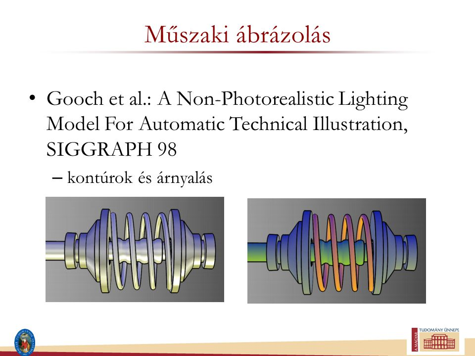 Műszaki ábrázolás Gooch et al.: A Non-Photorealistic Lighting Model For Automatic Technical Illustration, SIGGRAPH 98 – kontúrok és árnyalás
