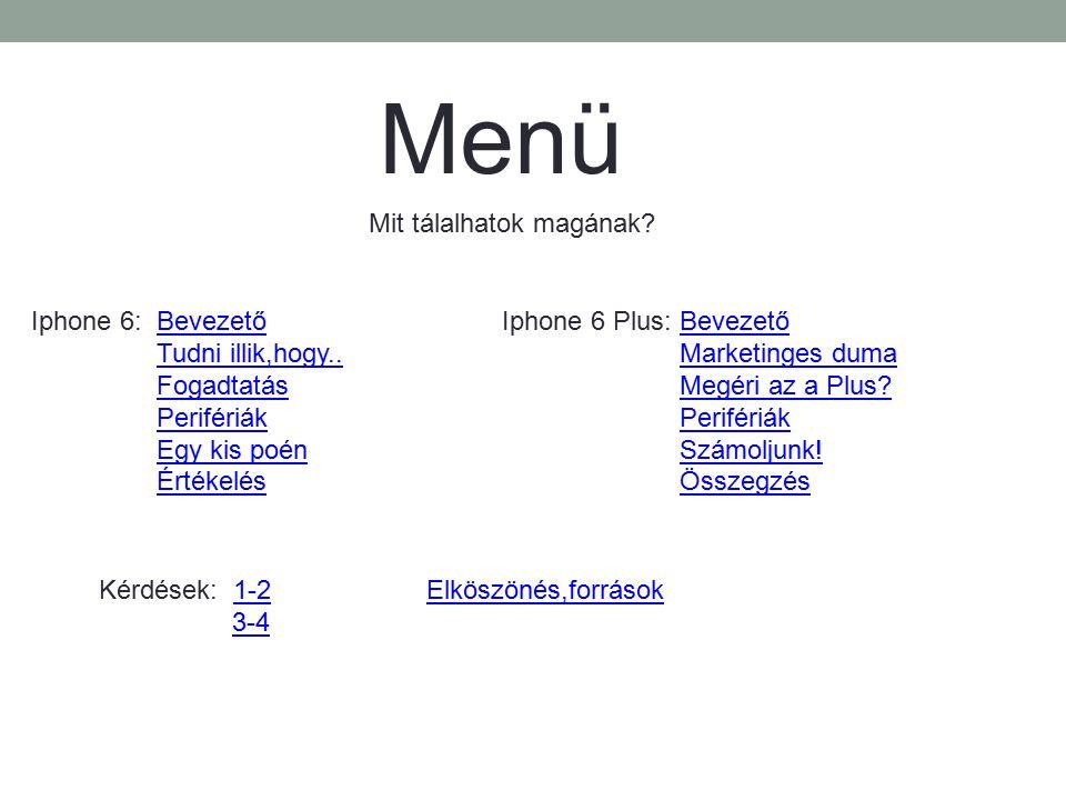 Menü Mit tálalhatok magának? Iphone 6: BevezetőBevezető Tudni illik,hogy.. Fogadtatás Perifériák Egy kis poén Értékelés Iphone 6 Plus: BevezetőBevezet