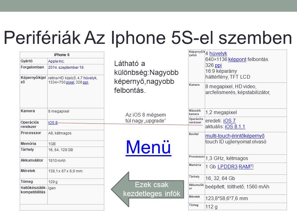Perifériák Az Iphone 5S-el szemben iPhone 6 GyártóApple Inc. Forgalomban2014. szeptember 19. Képernyő/kijel ző retina HD kijelző, 4,7 hüvelyk, 1334×75