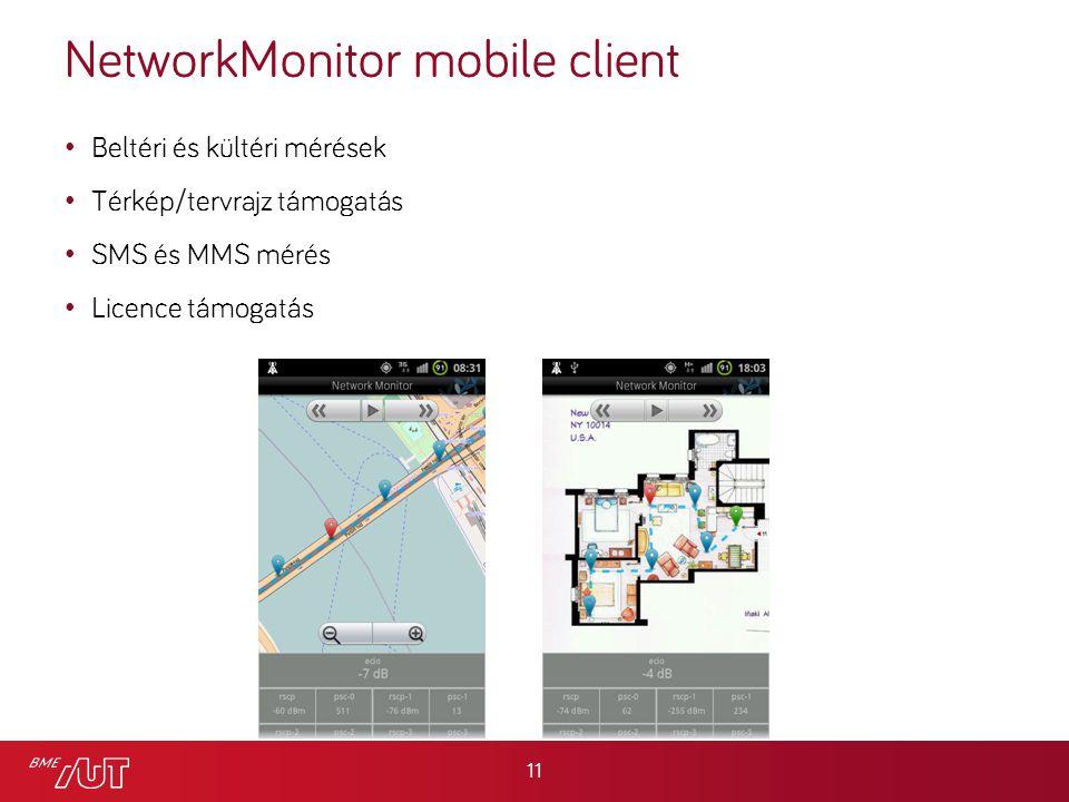 NetworkMonitor mobile client Beltéri és kültéri mérések Térkép/tervrajz támogatás SMS és MMS mérés Licence támogatás 11