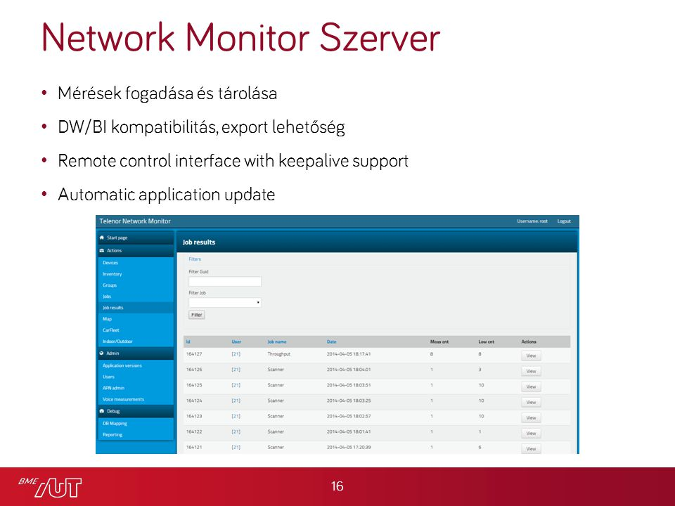 Network Monitor Szerver Mérések fogadása és tárolása DW/BI kompatibilitás, export lehetőség Remote control interface with keepalive support Automatic