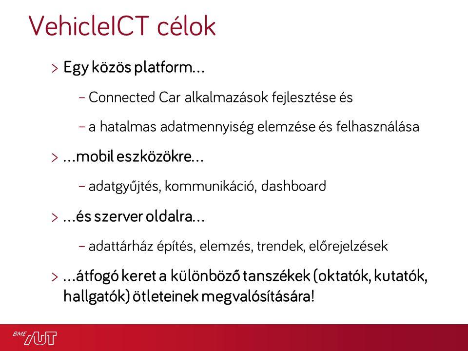 VehicleICT célok >Egy közös platform… –Connected Car alkalmazások fejlesztése és –a hatalmas adatmennyiség elemzése és felhasználása >…mobil eszközökre… –adatgyűjtés, kommunikáció, dashboard >…és szerver oldalra… –adattárház építés, elemzés, trendek, előrejelzések >…átfogó keret a különböző tanszékek (oktatók, kutatók, hallgatók) ötleteinek megvalósítására!