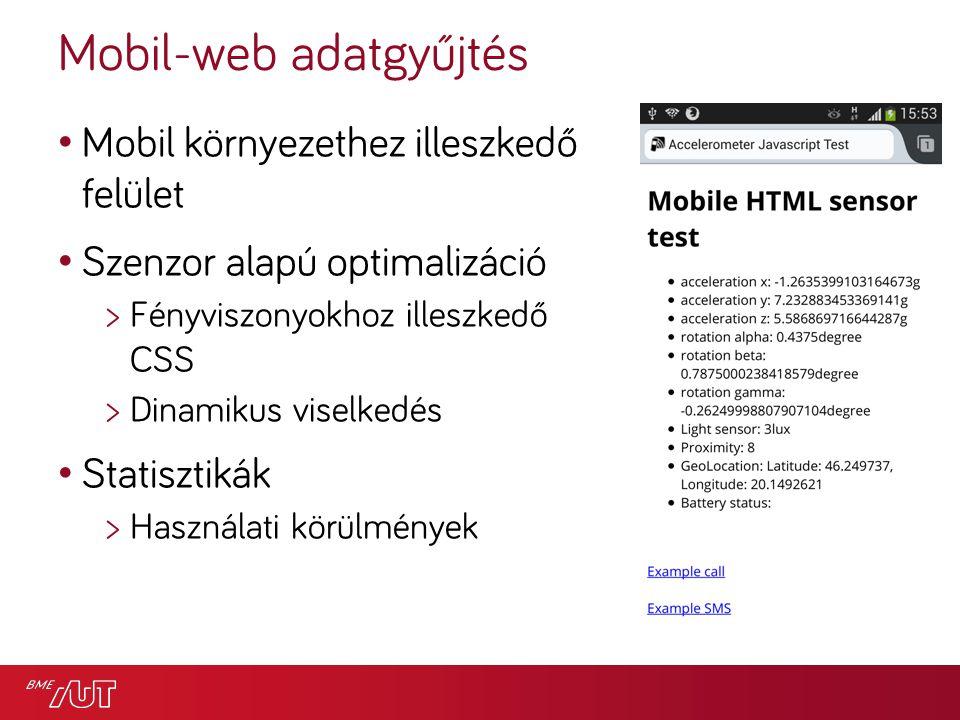Mobil-web adatgyűjtés Mobil környezethez illeszkedő felület Szenzor alapú optimalizáció >Fényviszonyokhoz illeszkedő CSS >Dinamikus viselkedés Statisztikák >Használati körülmények
