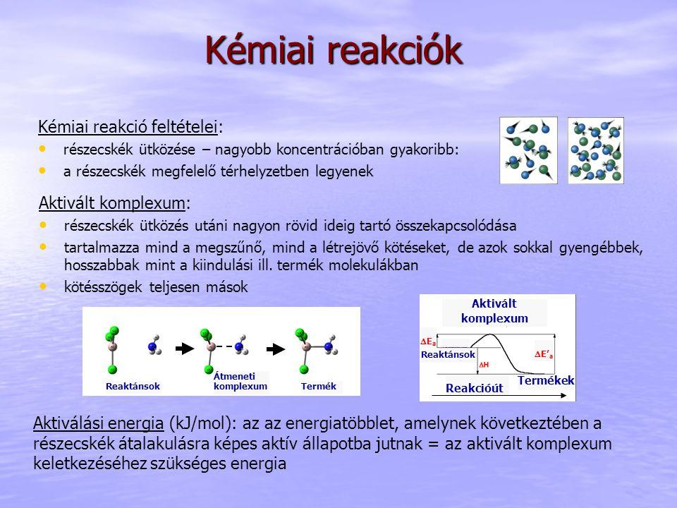 Kémiai reakciók Kémiai reakció feltételei: részecskék ütközése – nagyobb koncentrációban gyakoribb: a részecskék megfelelő térhelyzetben legyenek Akti