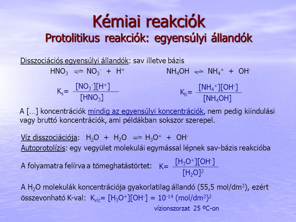 Kémiai reakciók Protolitikus reakciók: egyensúlyi állandók Disszociációs egyensúlyi állandók: sav illetve bázis HNO 3 NO 3 - + H + NH 4 OH NH 4 + + OH