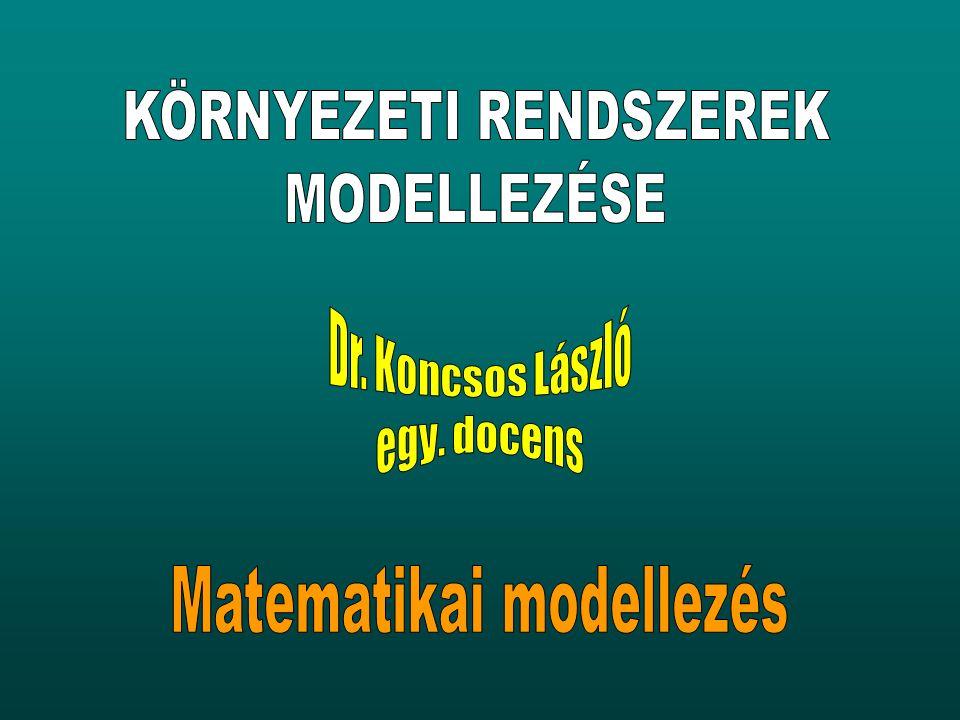 Modellalkotás folyamata 1.Identifikáció alaptörvények, feltevések számbavételealaptörvények, feltevések számbavétele elégséges részrendszer kiválasztásaelégséges részrendszer kiválasztása matematikai realizáció (papír-ceruza / szoftver)matematikai realizáció (papír-ceruza / szoftver) 2.Kalibráció modellállandók beállításamodellállandók beállítása számítások és megfigyelések összevetésén alapulszámítások és megfigyelések összevetésén alapul 3.Validáció kalibrált modell igazolásakalibrált modell igazolása független megfigyelések segítségévelfüggetlen megfigyelések segítségével