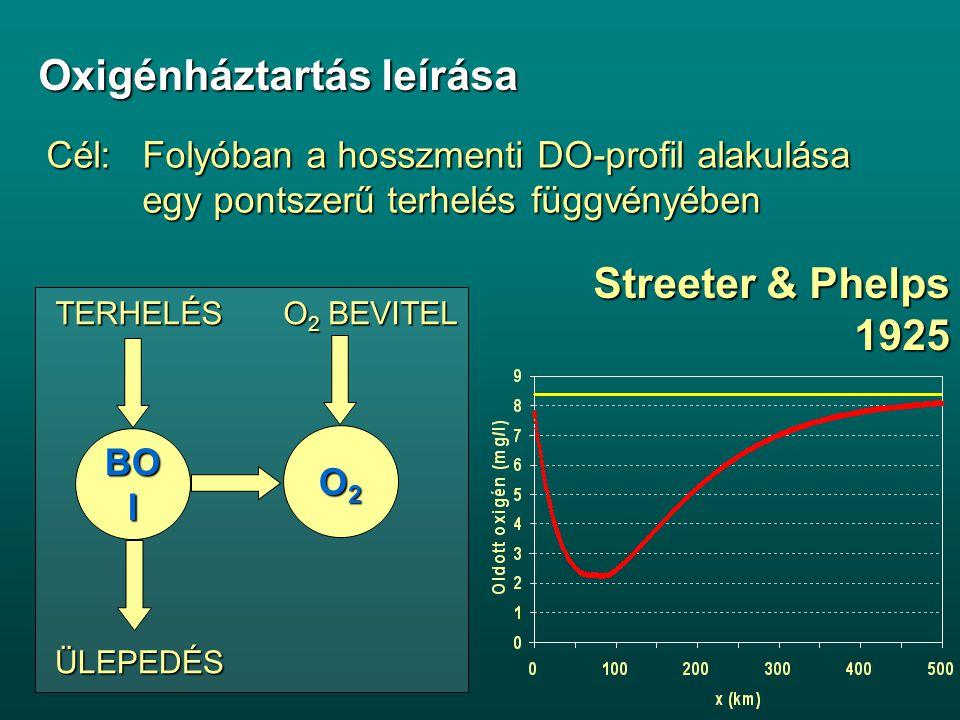 Streeter & Phelps 1925 BO I TERHELÉS O 2 BEVITEL ÜLEPEDÉS O2O2O2O2 Oxigénháztartás leírása Cél:Folyóban a hosszmenti DO-profil alakulása egy pontszerű terhelés függvényében