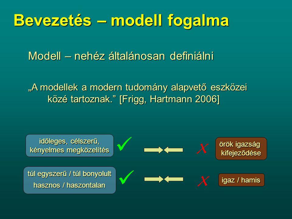 """Bevezetés – modell fogalma Modell – nehéz általánosan definiálni """"A modellek a modern tudomány alapvető eszközei közé tartoznak. [Frigg, Hartmann 2006] örök igazság kifejeződése időleges, célszerű, kényelmes megközelítés túl egyszerű / túl bonyolult hasznos / haszontalan igaz / hamis x x"""