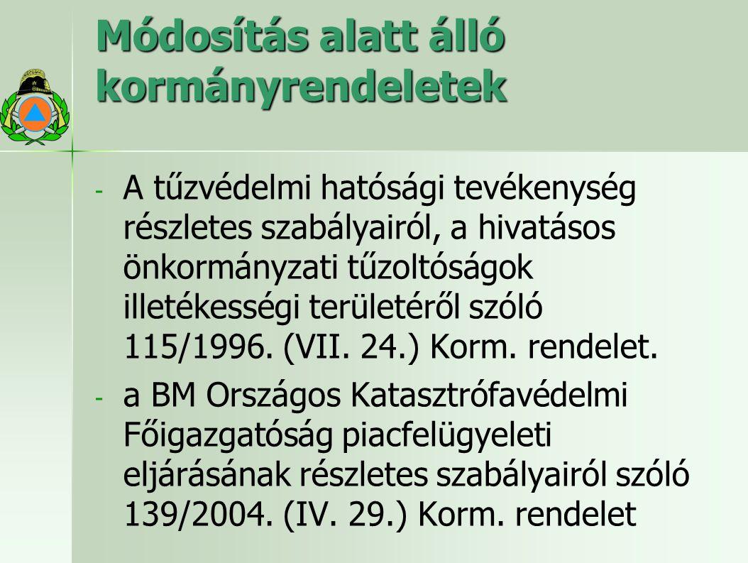 Módosítás alatt álló kormányrendeletek - - A tűzvédelmi hatósági tevékenység részletes szabályairól, a hivatásos önkormányzati tűzoltóságok illetékességi területéről szóló 115/1996.