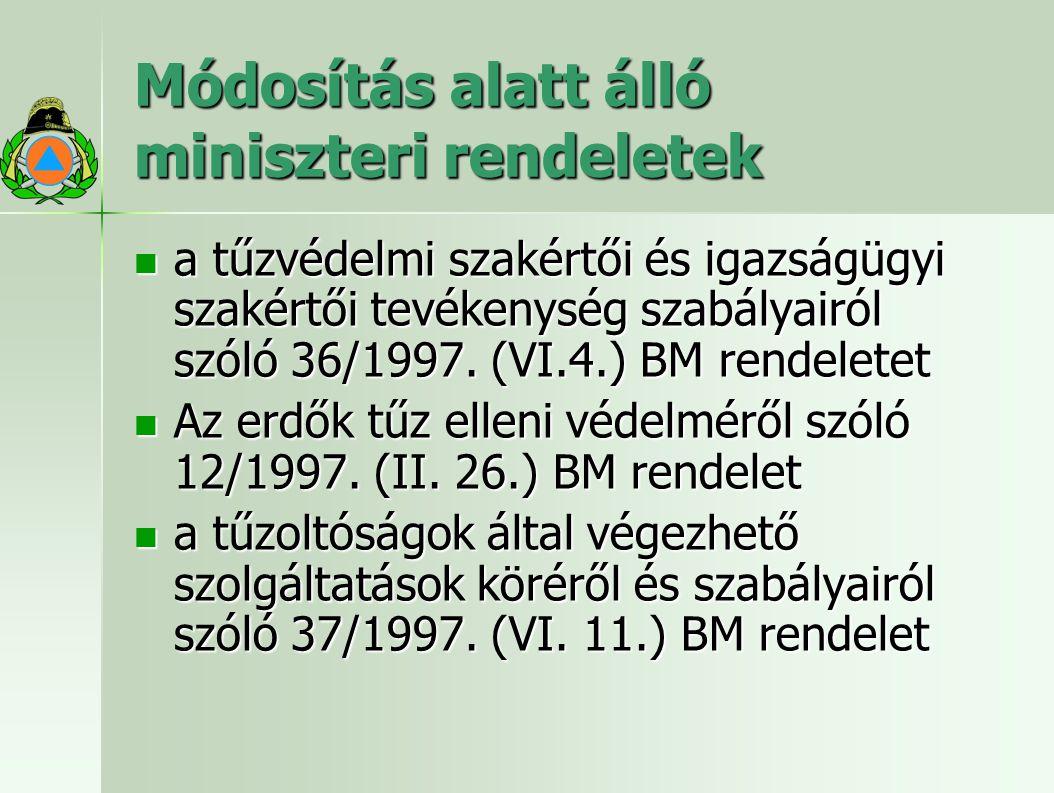 Módosítás alatt álló miniszteri rendeletek a tűzvédelmi szakértői és igazságügyi szakértői tevékenység szabályairól szóló 36/1997.