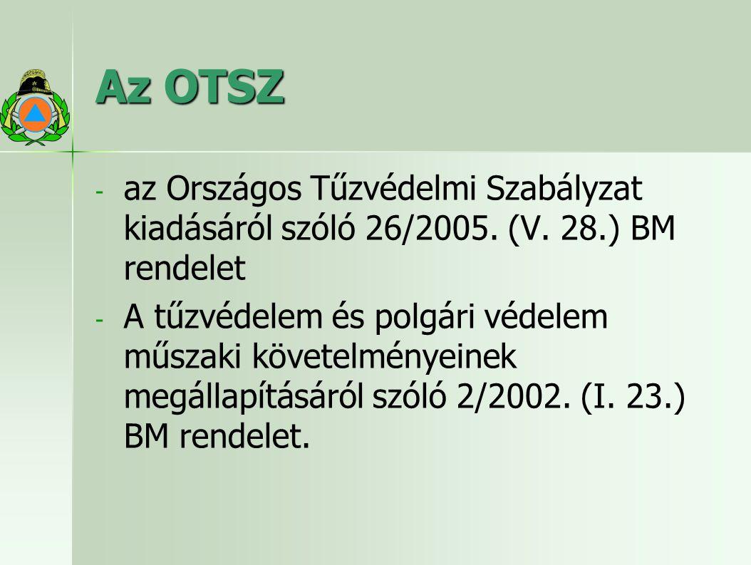 Az OTSZ - - az Országos Tűzvédelmi Szabályzat kiadásáról szóló 26/2005.