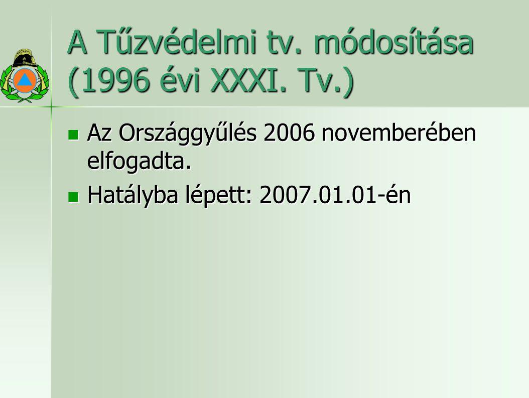 A Tűzvédelmi tv.módosítása (1996 évi XXXI. Tv.) Az Országgyűlés 2006 novemberében elfogadta.