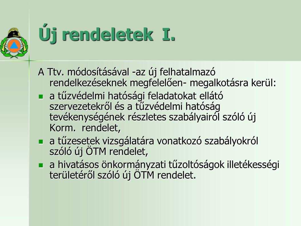 Új rendeletek I.A Ttv.