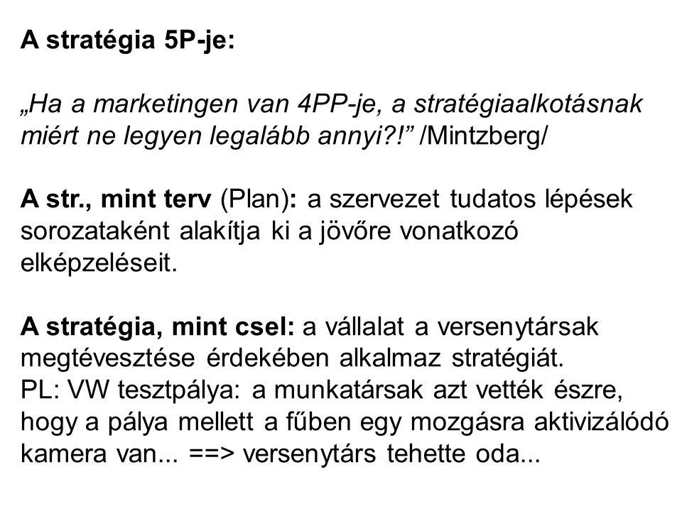 """A stratégia 5P-je: """"Ha a marketingen van 4PP-je, a stratégiaalkotásnak miért ne legyen legalább annyi?!"""" /Mintzberg/ A str., mint terv (Plan): a szerv"""