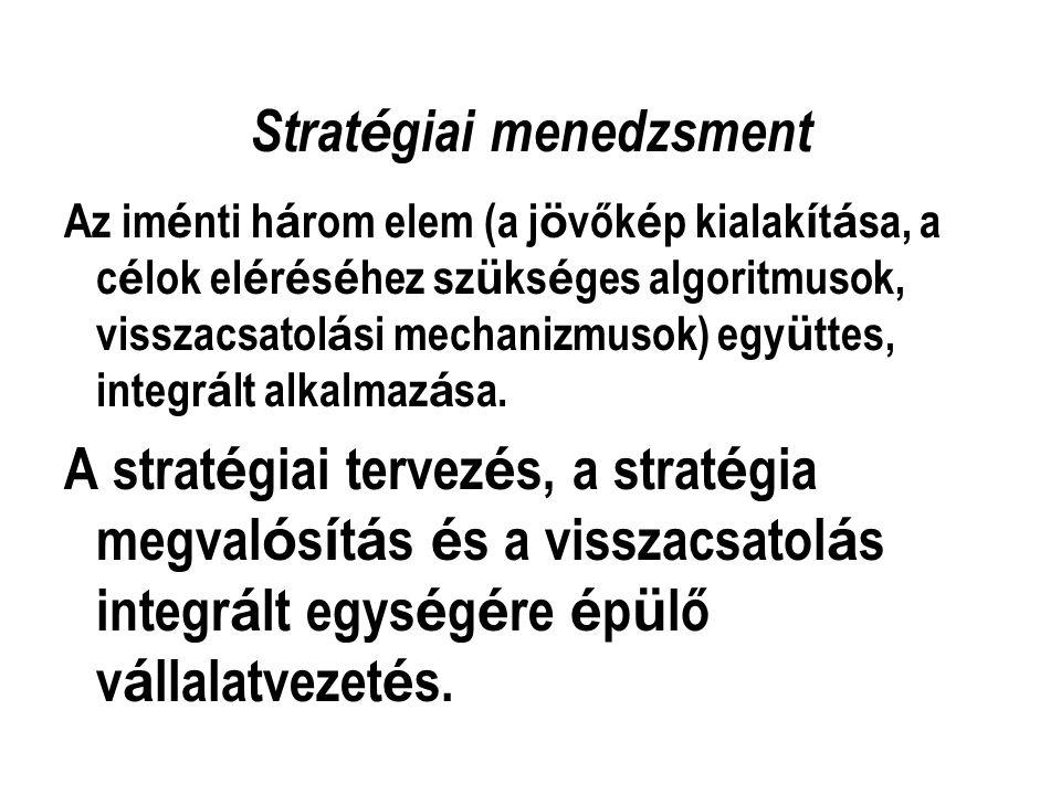 A küldetés(misszió) kapcsolata a stratégiával Megfogalmazza a működési kör, a belső működési elvek és az érintettekkel való kapcsolat alapelveit Működési kör dimenziói: - igények, fogyasztói csoportok, eljárások, (vállalati marketingstratégia és innovációs stratégia függvénye) - módszerek, amelyekkel az igényeket kielégítjük