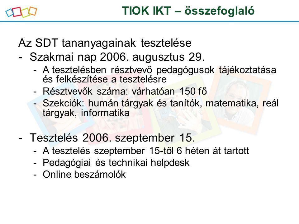 Az SDT tananyagainak tesztelése -Szakmai nap 2006. augusztus 29. -A tesztelésben résztvevő pedagógusok tájékoztatása és felkészítése a tesztelésre -Ré