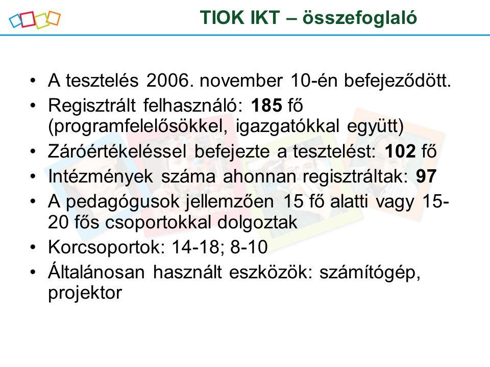 A tesztelés 2006. november 10-én befejeződött.