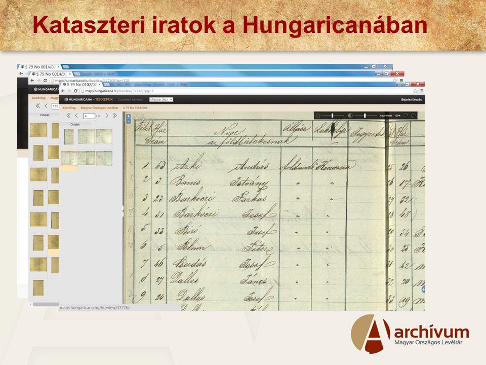 Kataszteri iratok a Hungaricanában