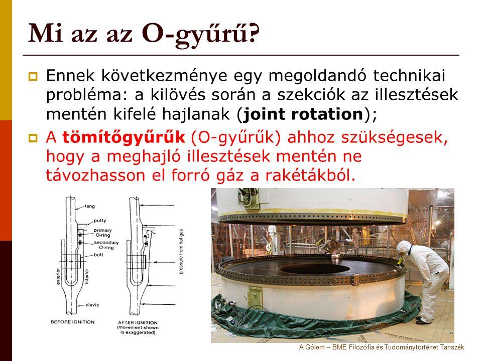 Mi az az O-gyűrű?  Ennek következménye egy megoldandó technikai probléma: a kilövés során a szekciók az illesztések mentén kifelé hajlanak (joint rot