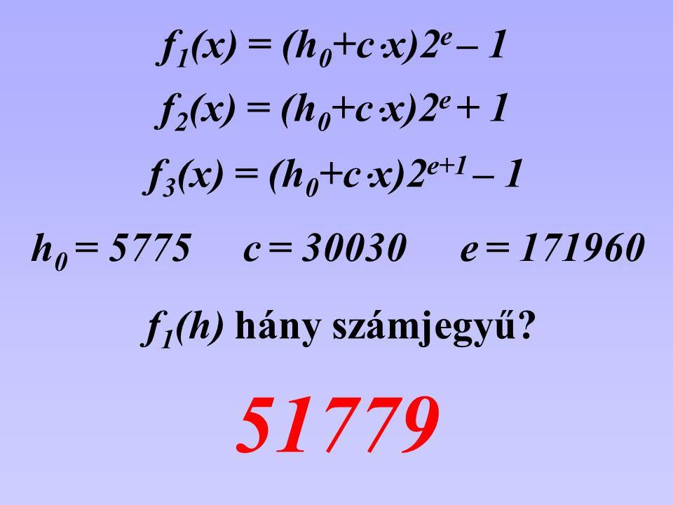 f 1 (x) = (h 0 +c  x)2 e – 1 f 2 (x) = (h 0 +c  x)2 e + 1 f 3 (x) = (h 0 +c  x)2 e+1 – 1 h 0 = 5775c = 30030e = 171960 f 1 (h) hány számjegyű.