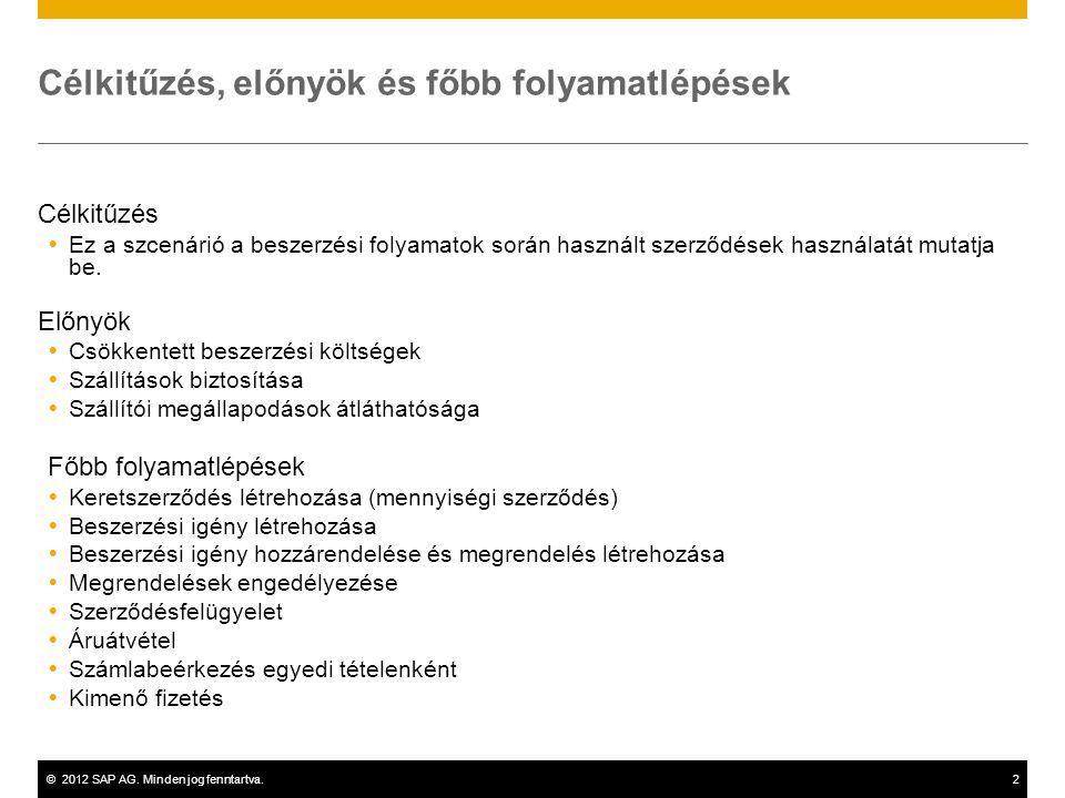 ©2012 SAP AG. Minden jog fenntartva.2 Célkitűzés, előnyök és főbb folyamatlépések Célkitűzés  Ez a szcenárió a beszerzési folyamatok során használt s