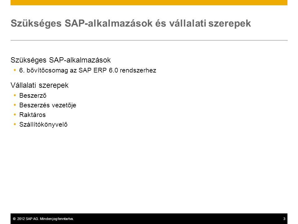 ©2012 SAP AG. Minden jog fenntartva.3 Szükséges SAP-alkalmazások és vállalati szerepek Szükséges SAP-alkalmazások  6. bővítőcsomag az SAP ERP 6.0 ren