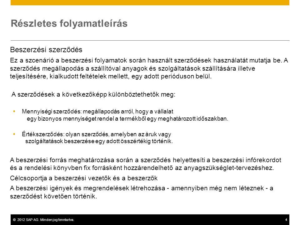©2012 SAP AG. Minden jog fenntartva.4 Részletes folyamatleírás Beszerzési szerződés Ez a szcenárió a beszerzési folyamatok során használt szerződések